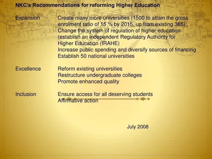 NKC's Recommendations for reforming Higher Education