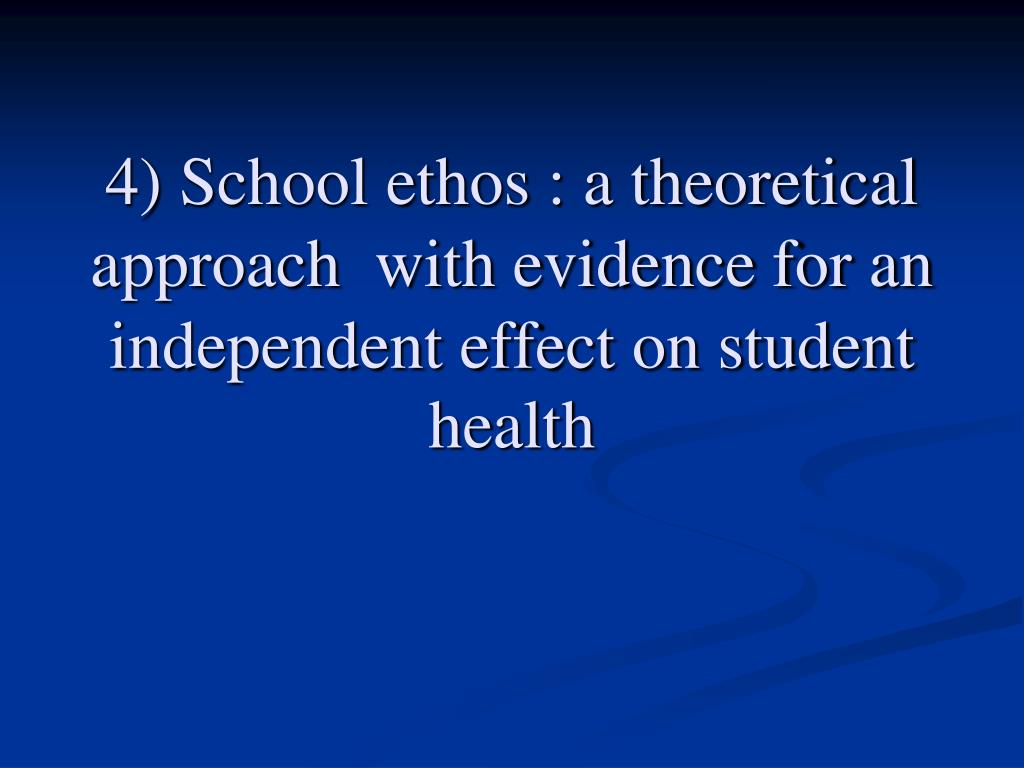 4) School ethos : a theoretical approach  with evidence for an independent effect on student health