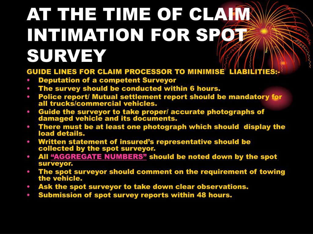 AT THE TIME OF CLAIM INTIMATION FOR SPOT SURVEY