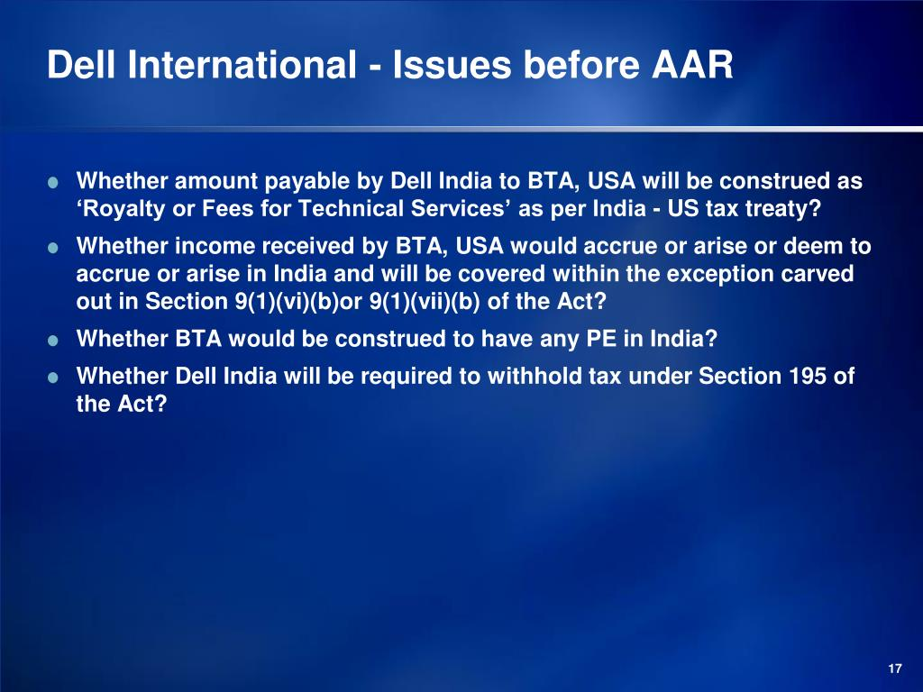 Dell International - Issues before AAR