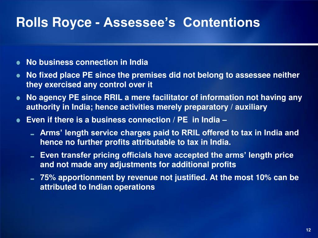 Rolls Royce - Assessee's  Contentions