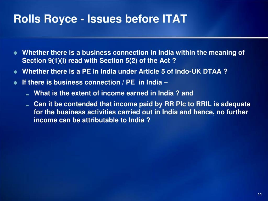 Rolls Royce - Issues before ITAT