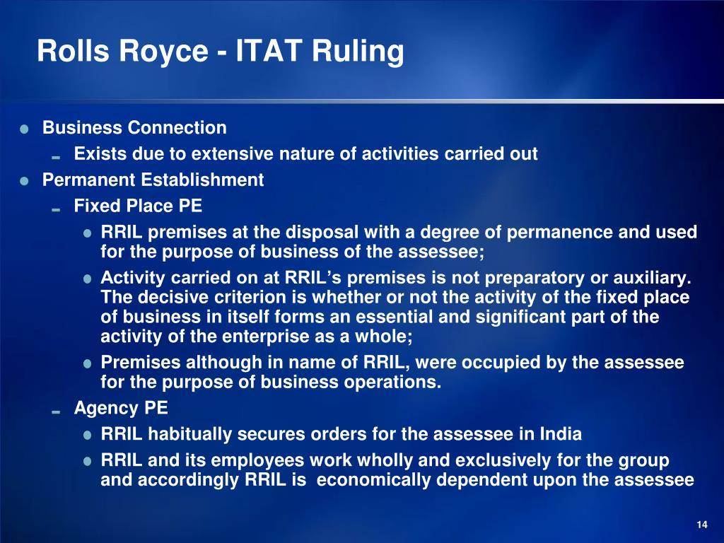 Rolls Royce - ITAT Ruling
