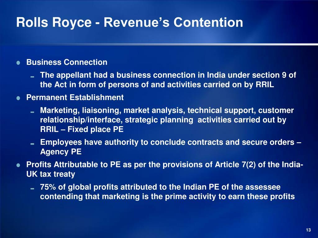 Rolls Royce - Revenue's Contention