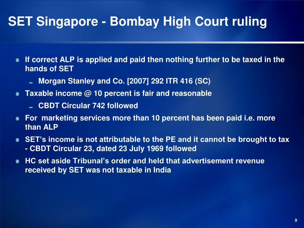 SET Singapore - Bombay High Court ruling