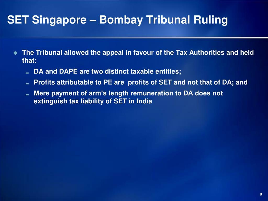 SET Singapore – Bombay Tribunal Ruling
