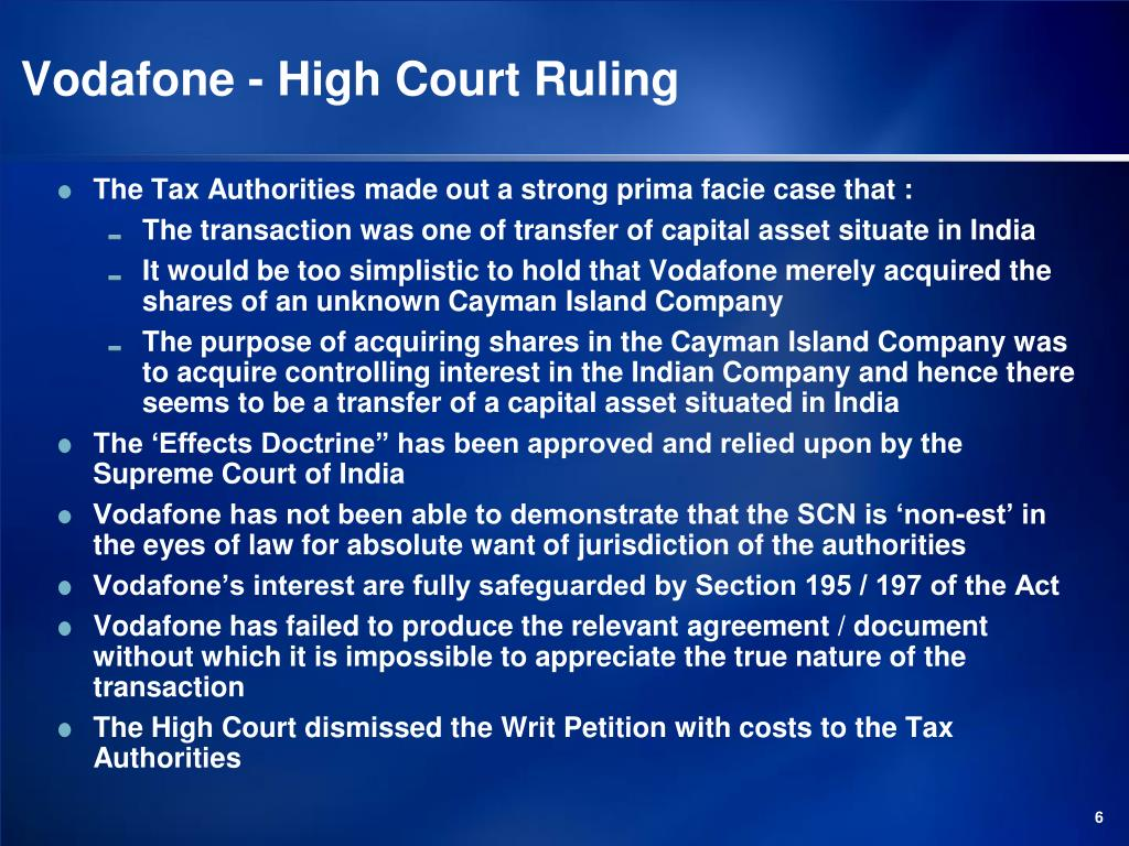 Vodafone - High Court Ruling