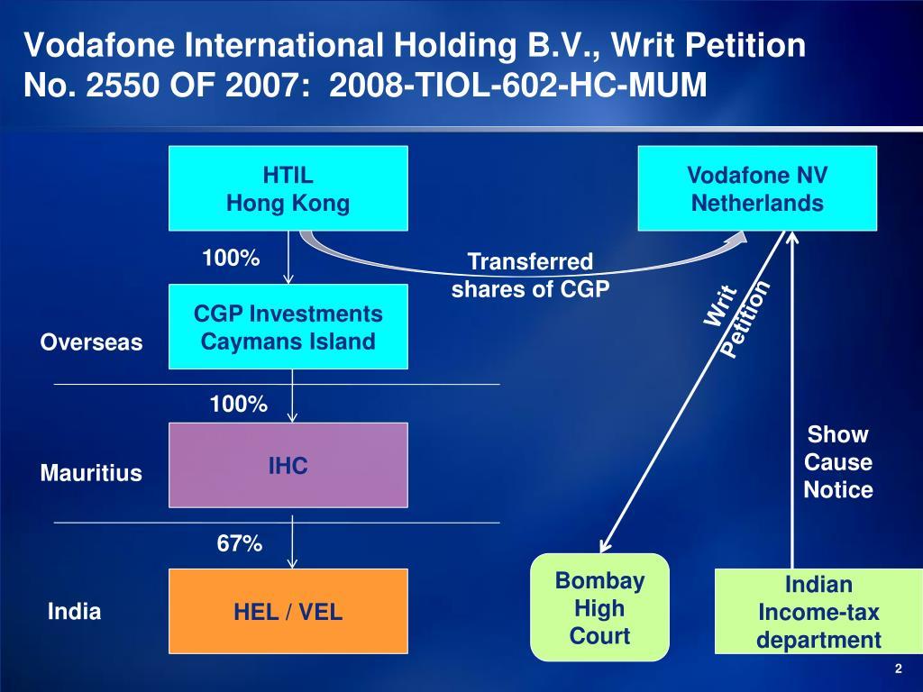 Vodafone International Holding B.V., Writ Petition No. 2550 OF 2007:  2008-TIOL-602-HC-MUM