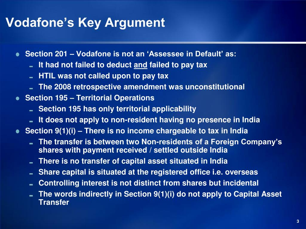 Vodafone's Key Argument