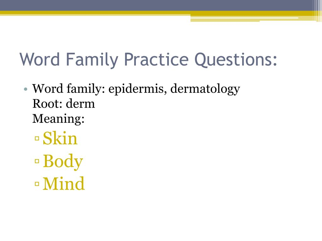 Word Family Practice Questions:
