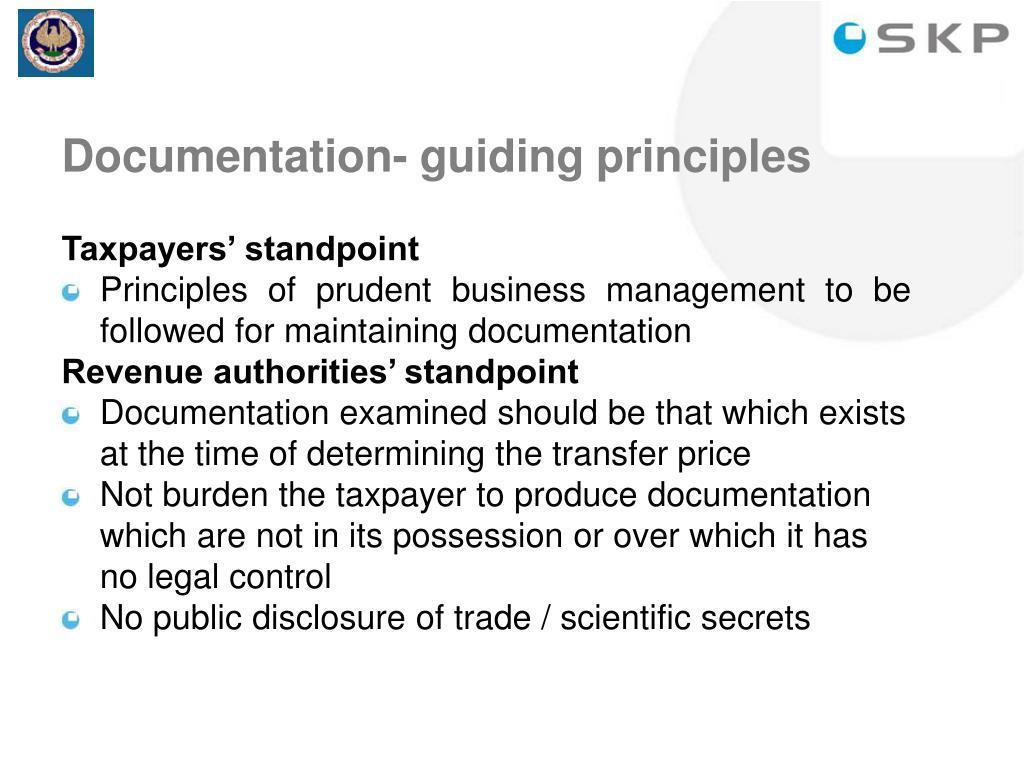 Documentation- guiding principles