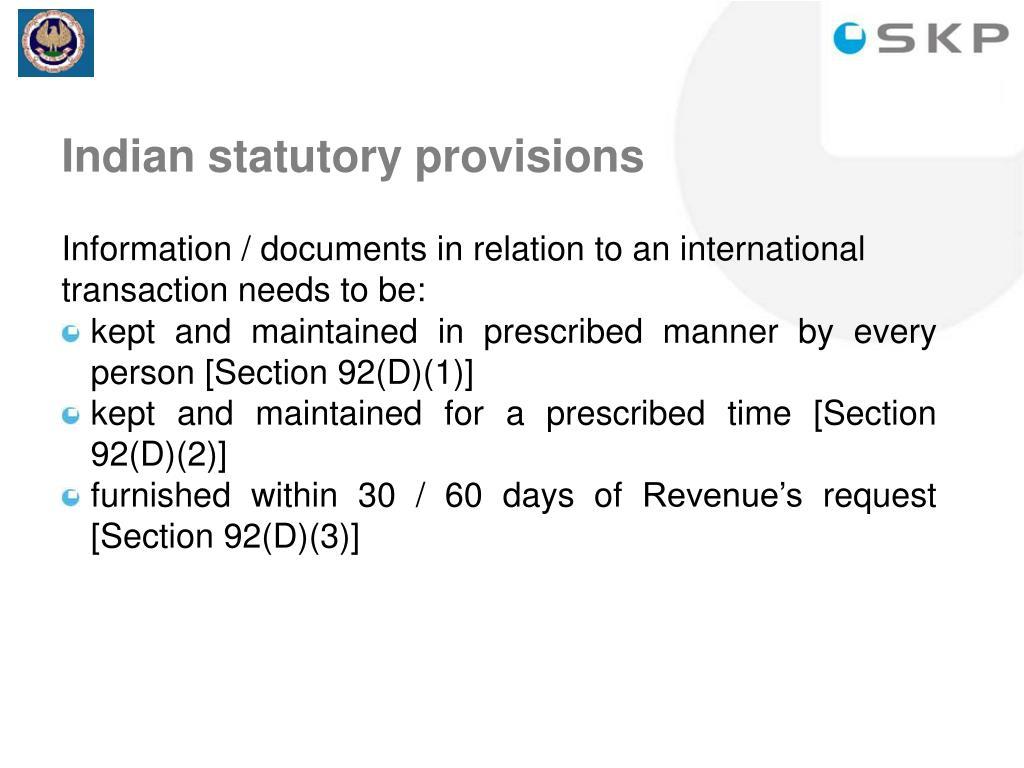 Indian statutory provisions