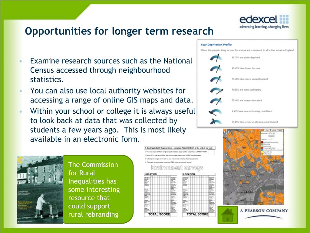 Opportunities for longer term research