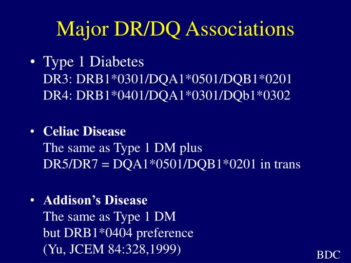 Major DR/DQ Associations