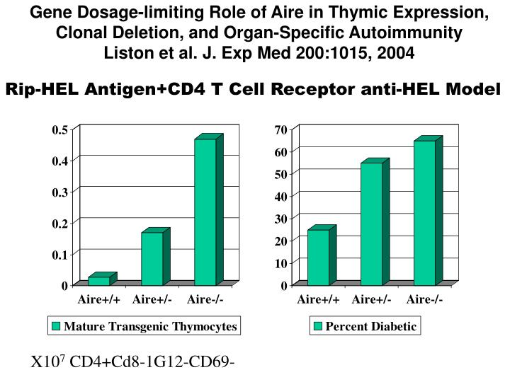 Gene Dosage-limiting Role of Aire in Thymic Expression, Clonal Deletion, and Organ-Specific Autoimmunity