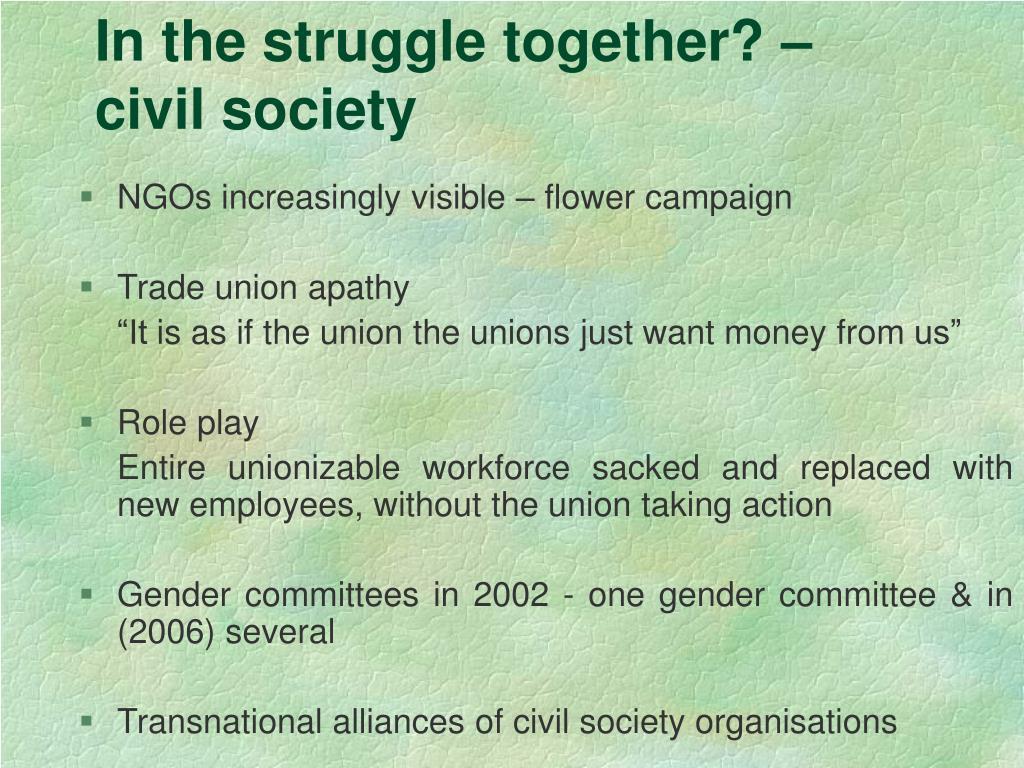 In the struggle together? – civil society