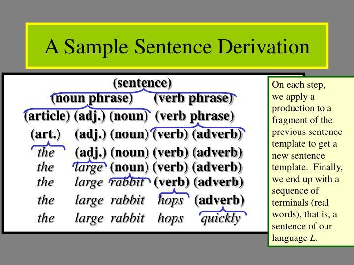 A Sample Sentence Derivation