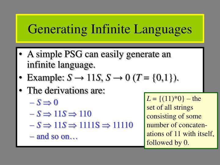 Generating Infinite Languages