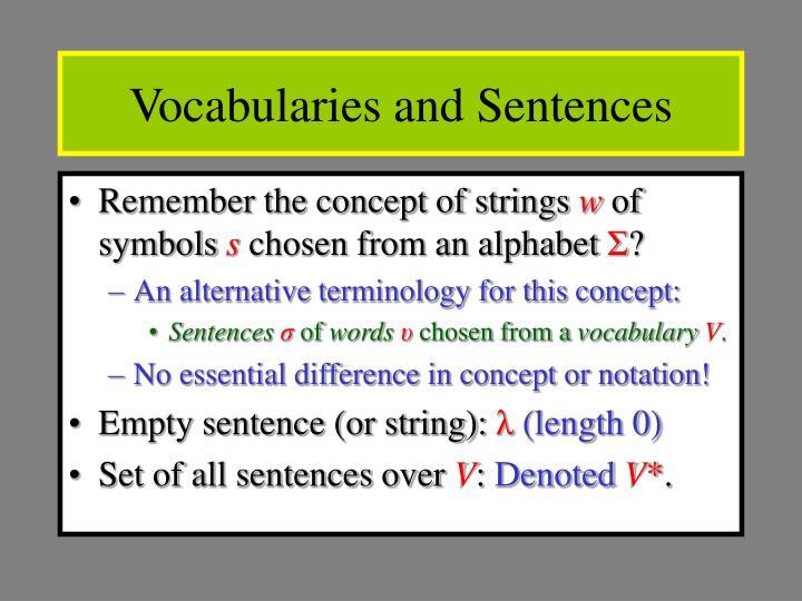 Vocabularies and Sentences