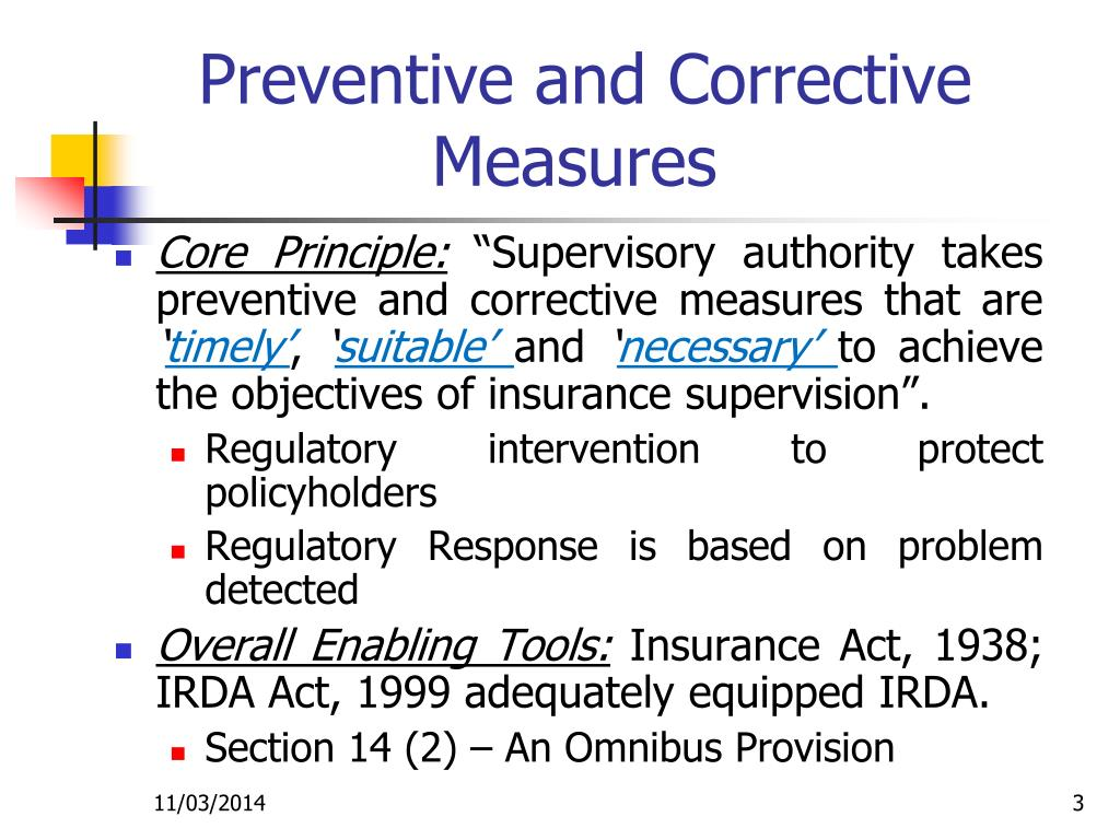 Preventive and Corrective Measures