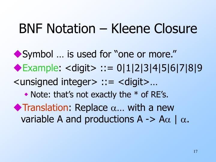 BNF Notation – Kleene Closure