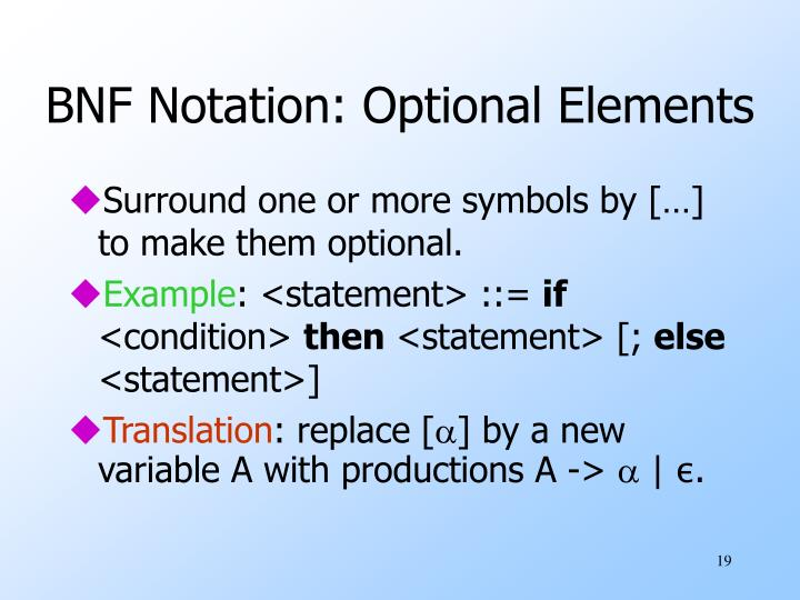 BNF Notation: Optional Elements
