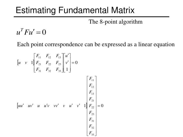 Estimating Fundamental Matrix