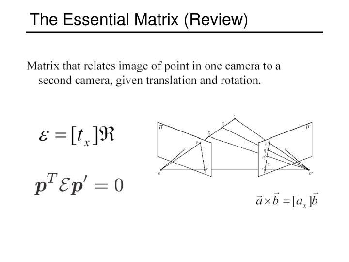 The Essential Matrix (Review)