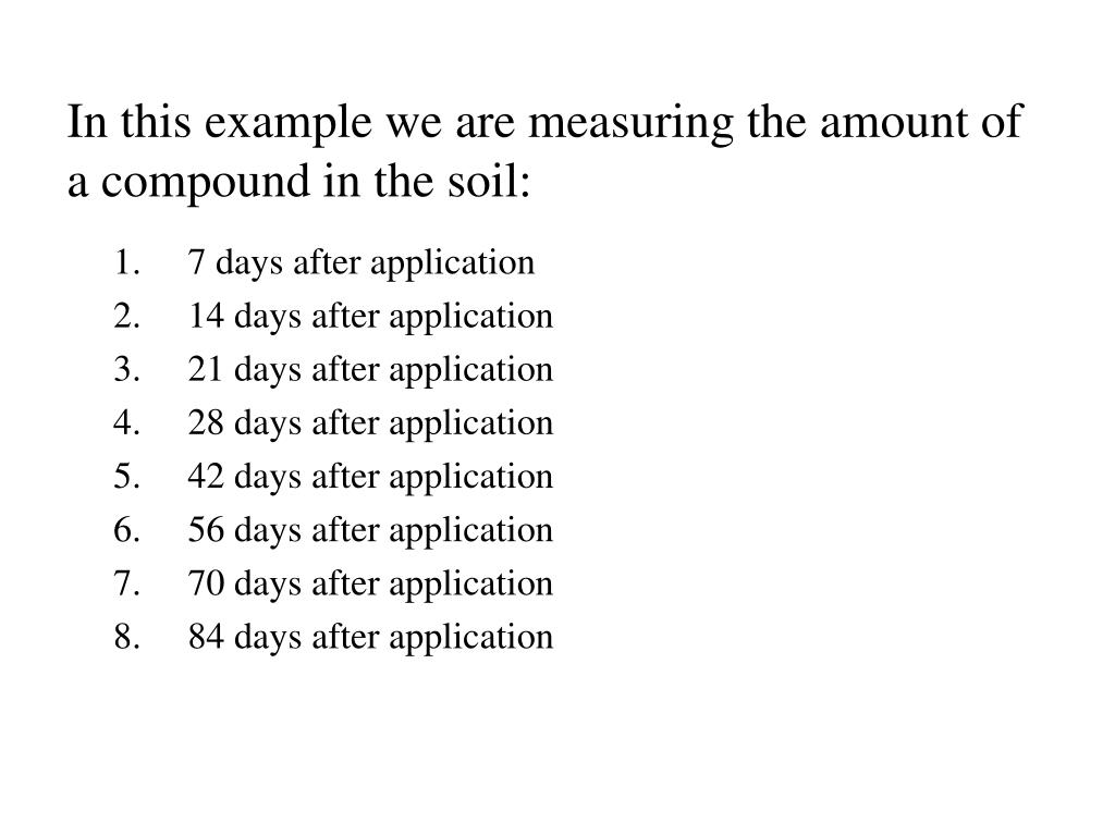 In this example we are measuring the amount of a compound in the soil: