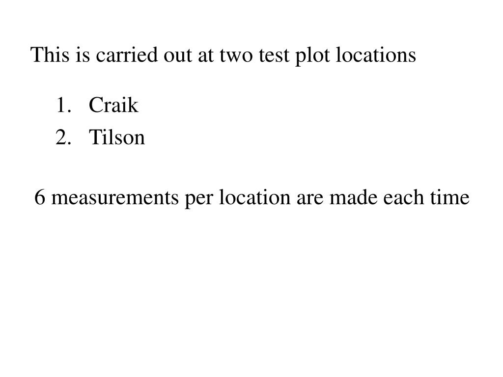 This is carried out at two test plot locations