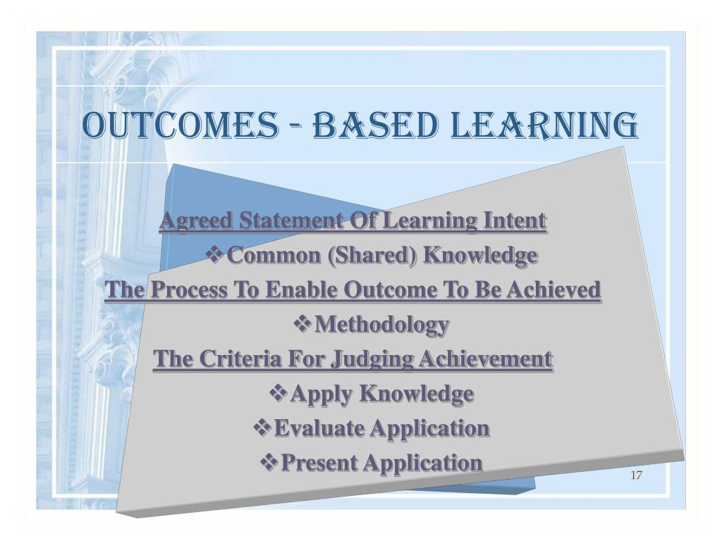 OUTCOMES - BASED LEARNING
