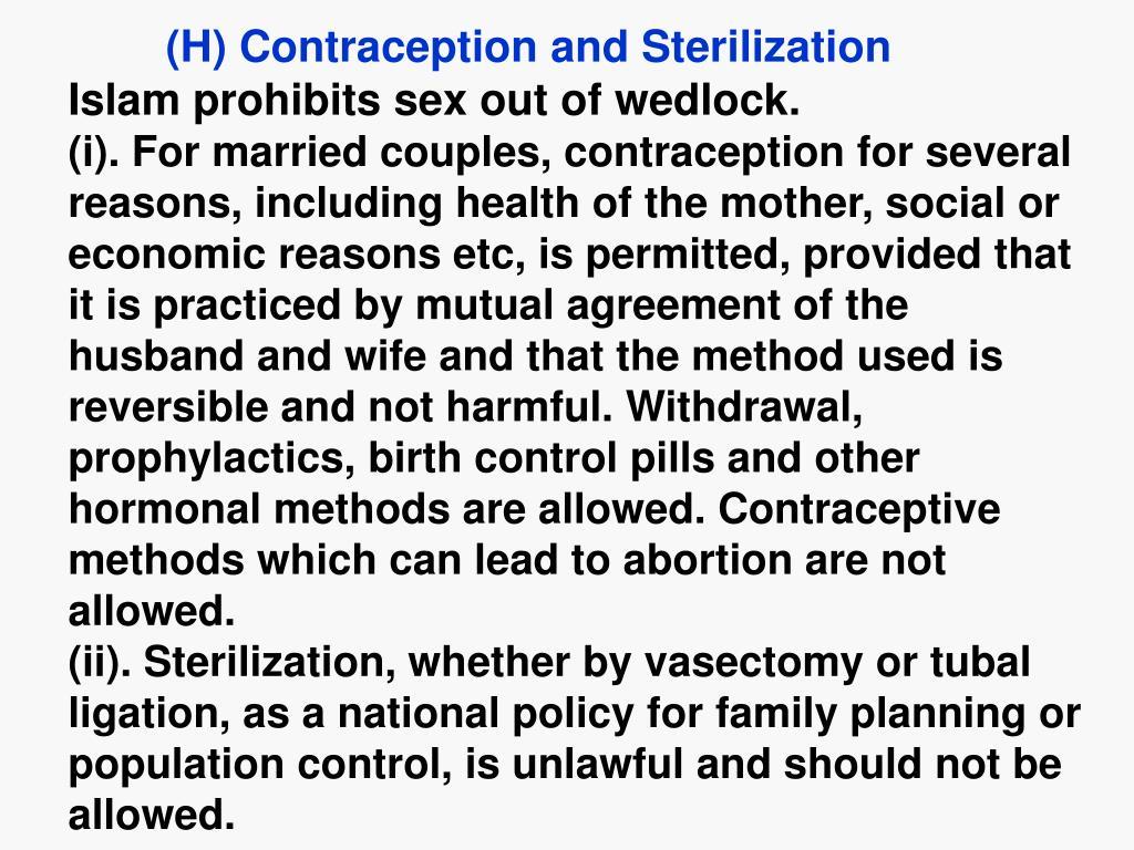 (H) Contraception and Sterilization