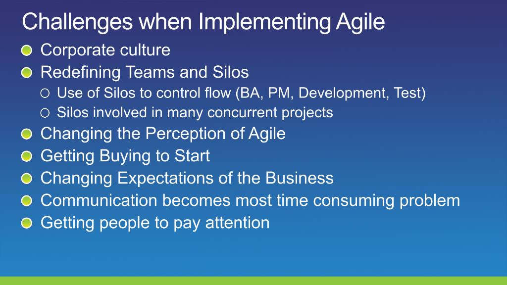 Challenges when Implementing Agile