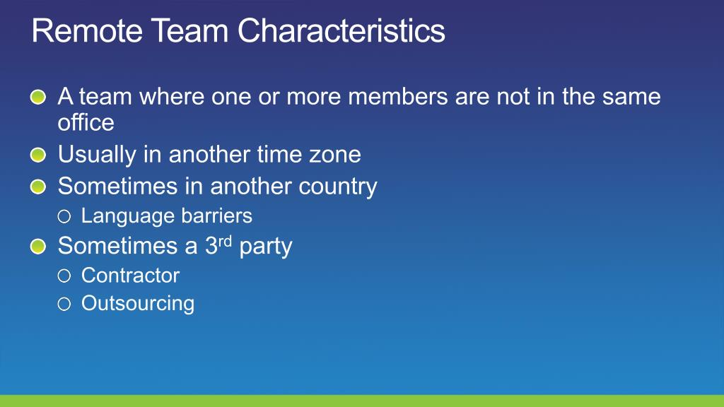 Remote Team Characteristics