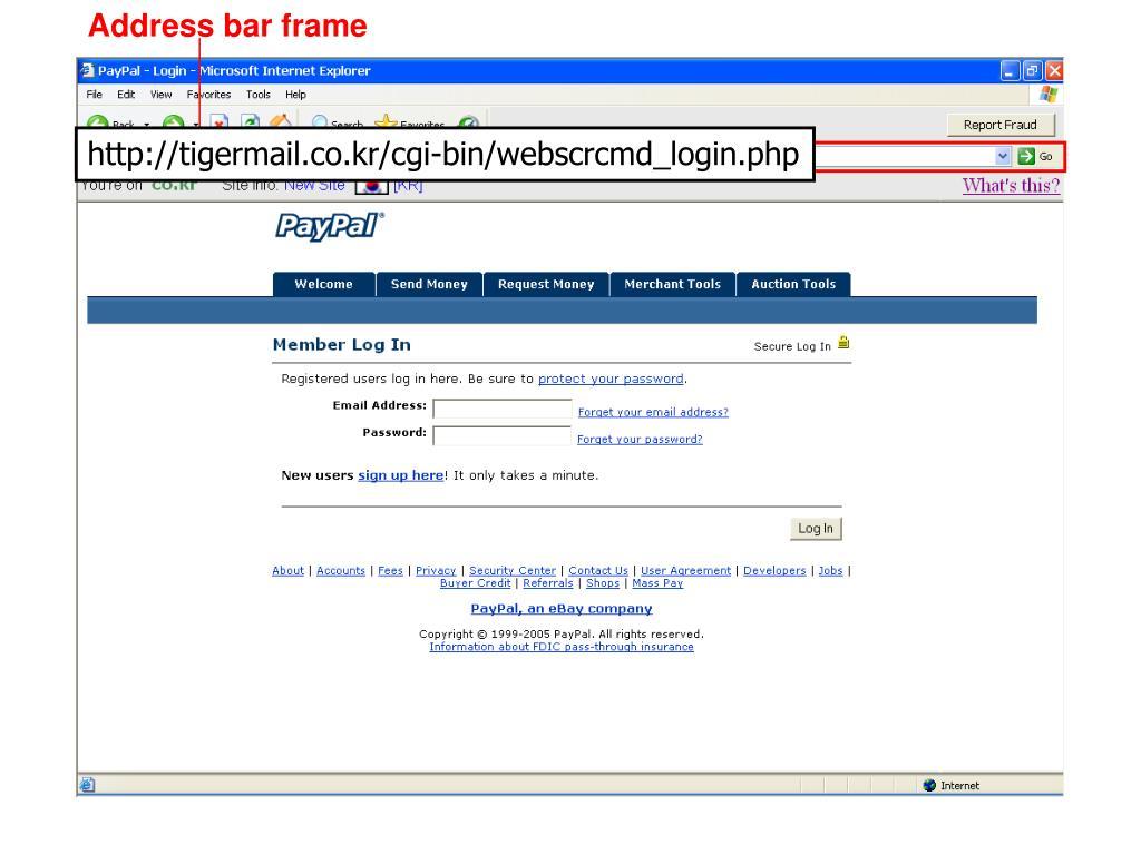 Address bar frame
