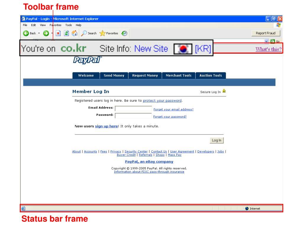 Toolbar frame