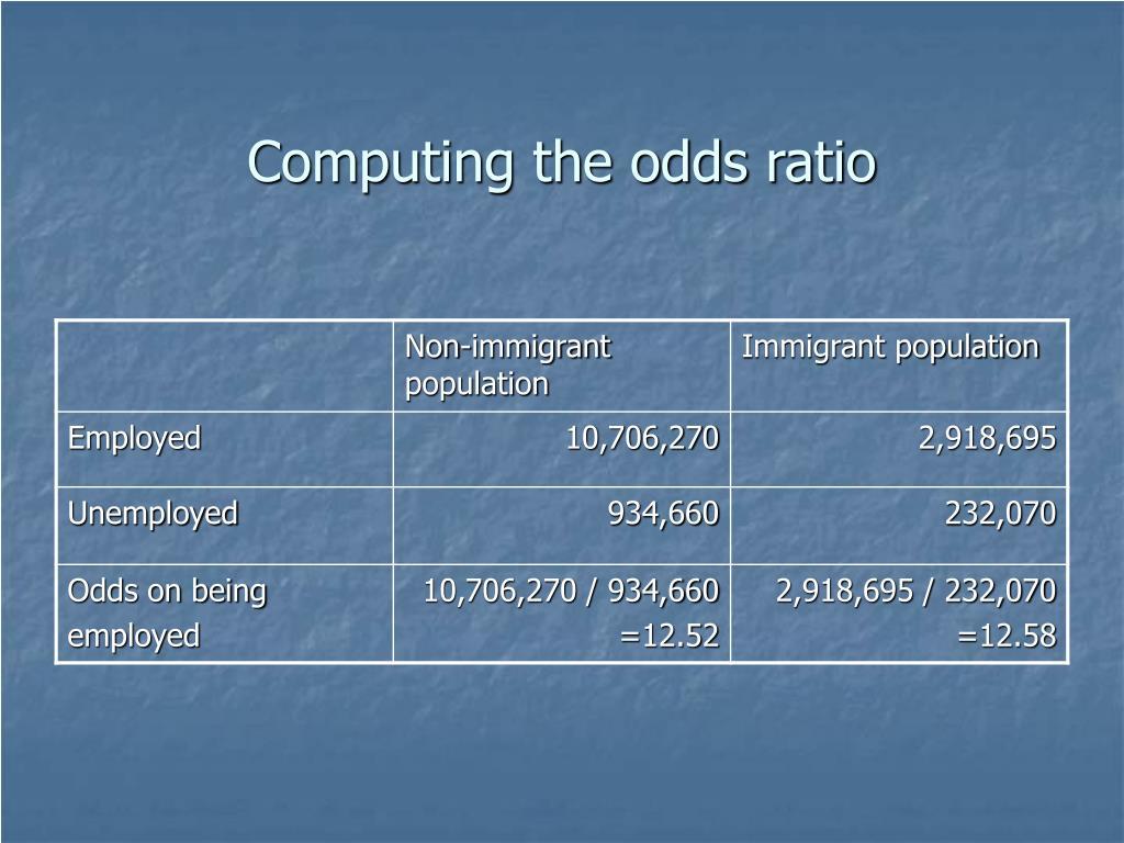 Computing the odds ratio