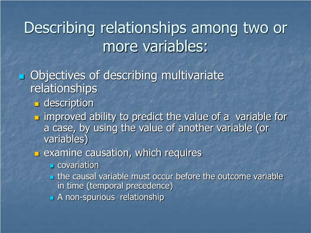 Describing relationships among two or more variables: