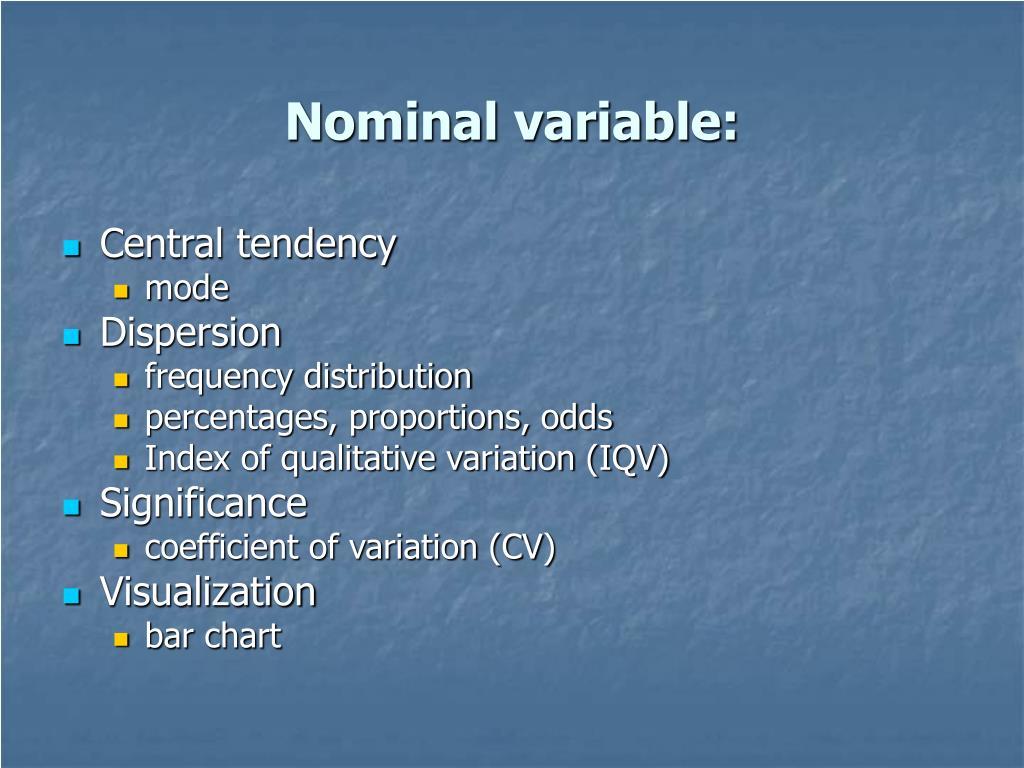 Nominal variable: