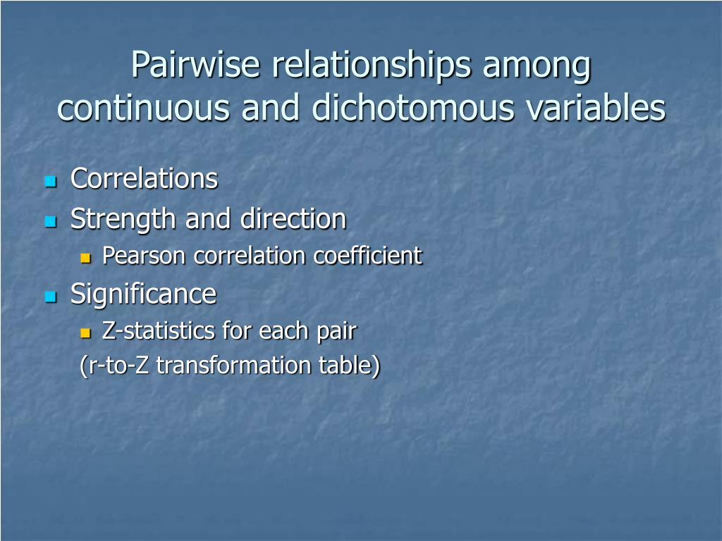 Pairwise relationships among continuous and dichotomous variables
