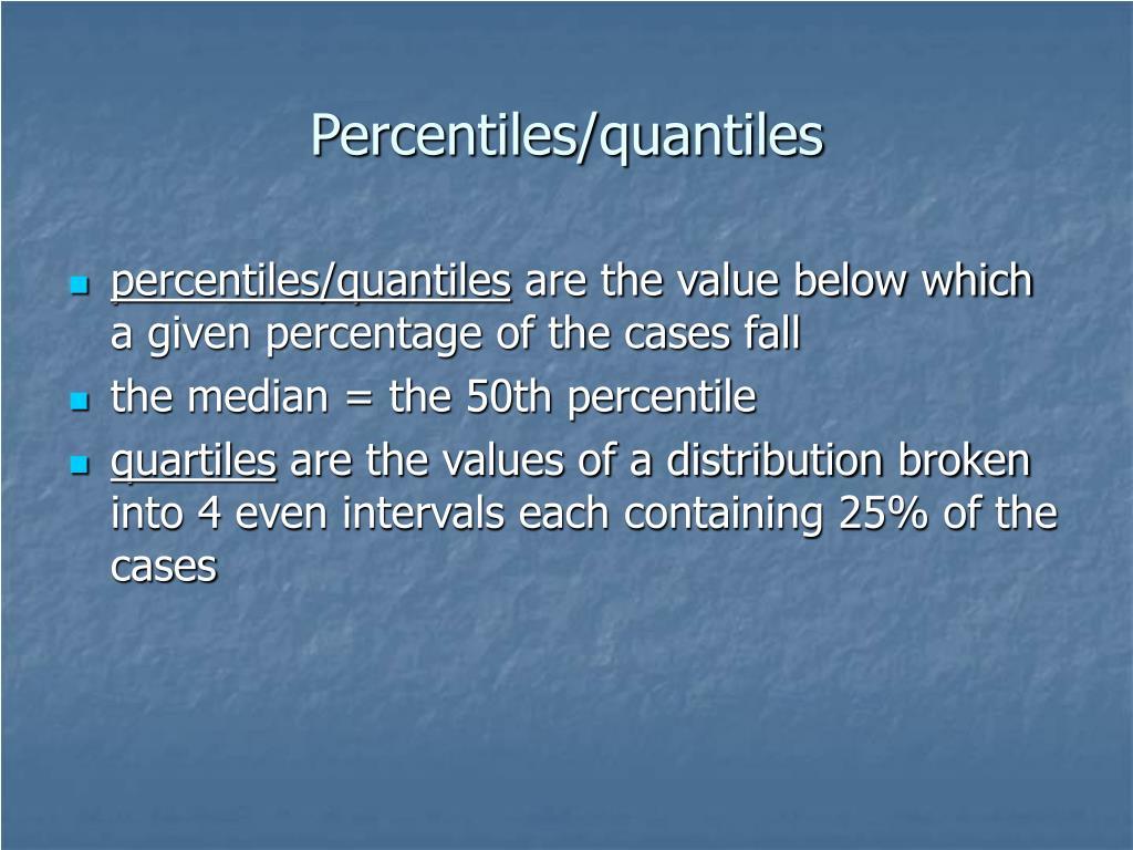 Percentiles/quantiles