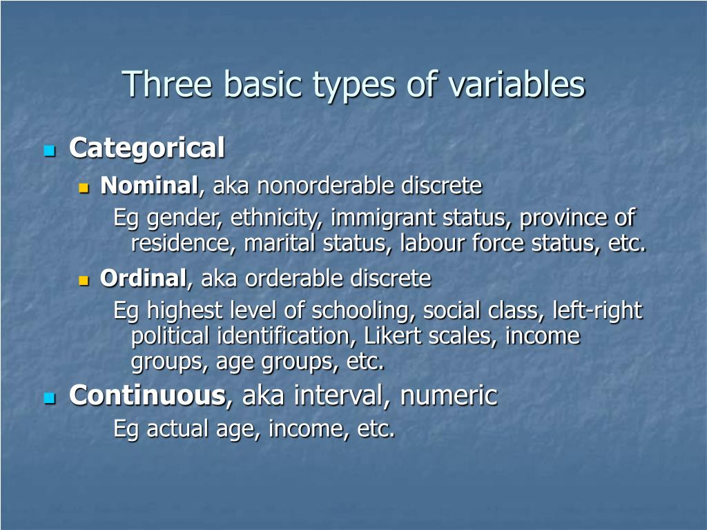 Three basic types of variables
