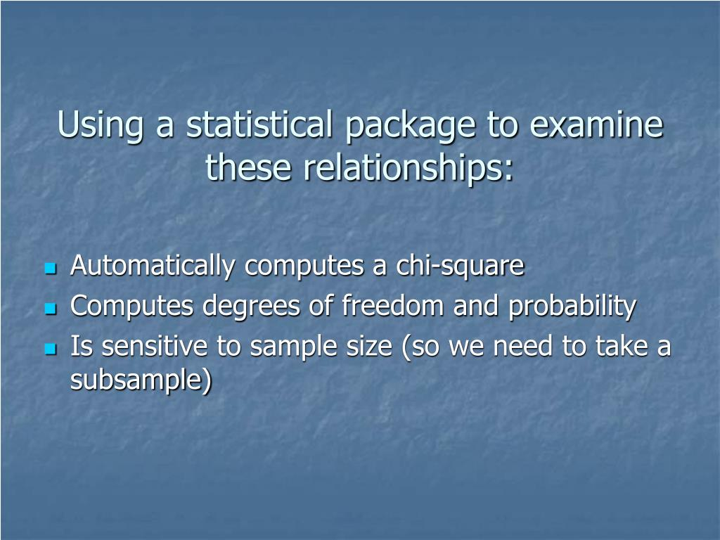 Using a statistical package to examine these relationships: