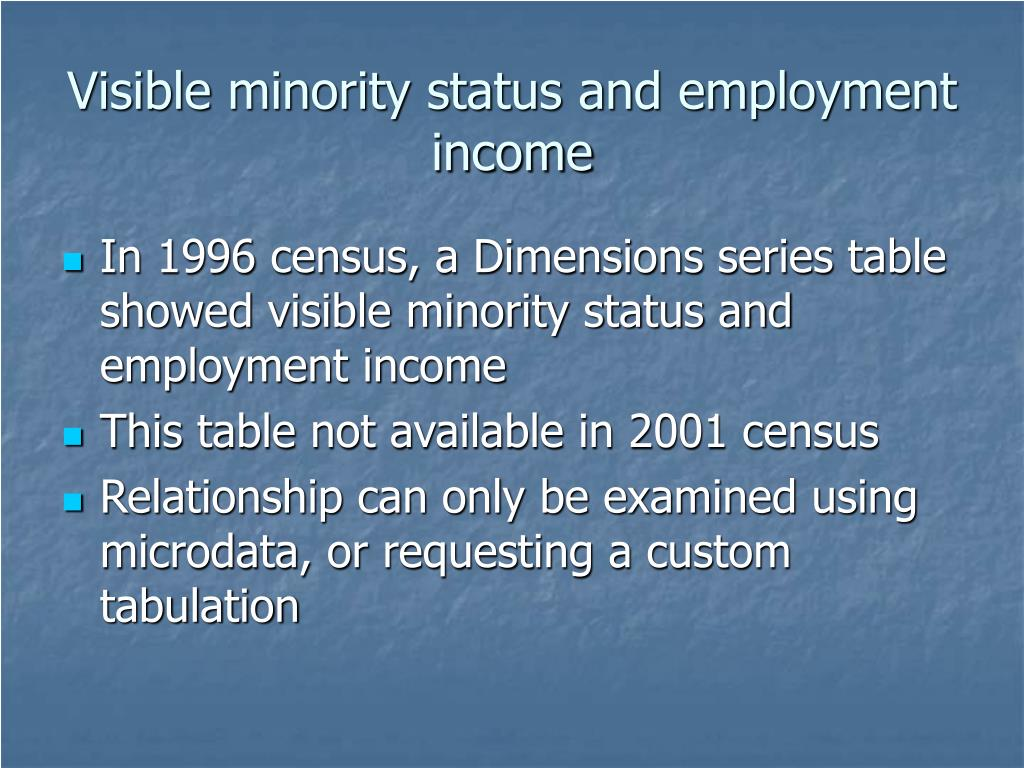 Visible minority status and employment income