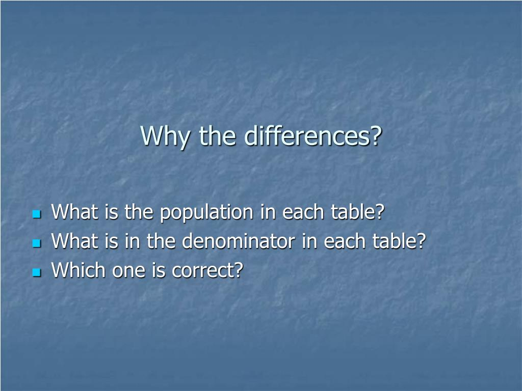 Why the differences?