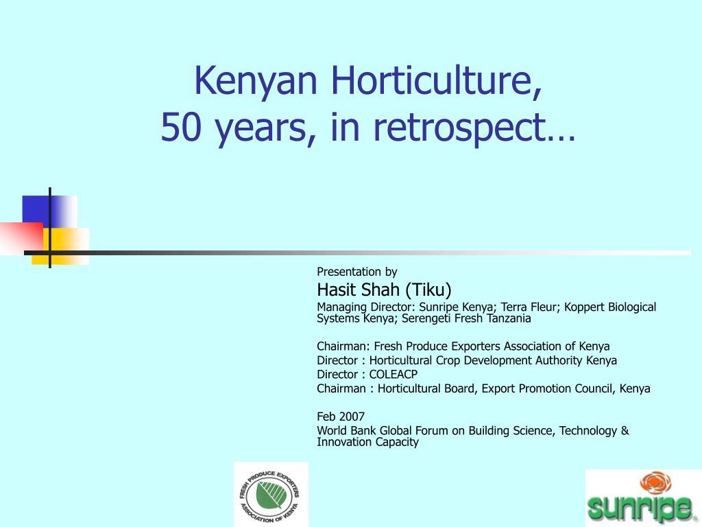 Kenyan Horticulture,