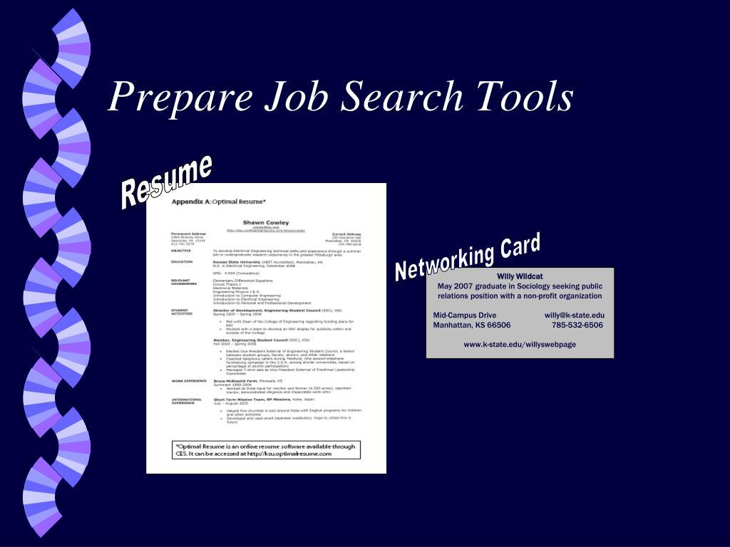 Prepare Job Search Tools