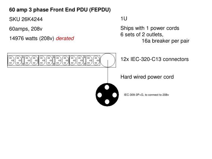 60 amp 3 phase Front End PDU (FEPDU)