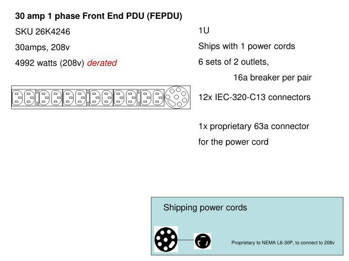 30 amp 1 phase Front End PDU (FEPDU)