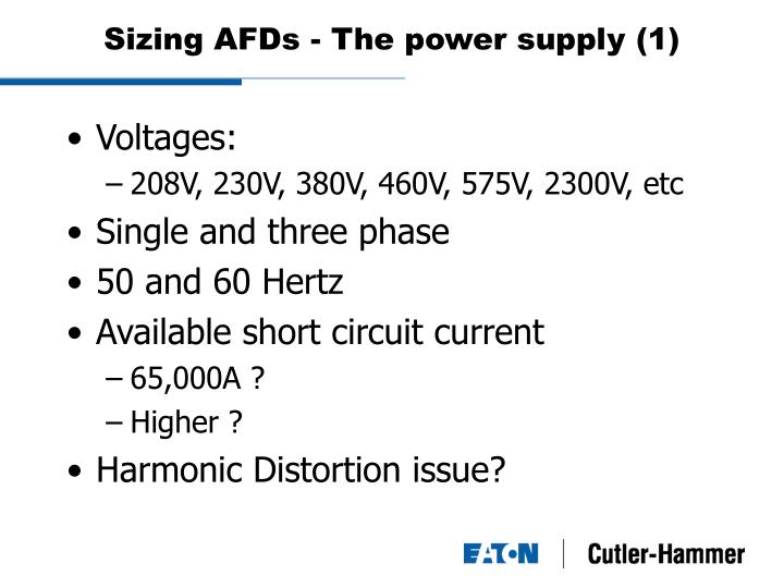 Sizing AFDs - The power supply (1)
